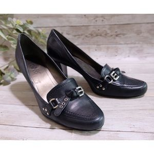 Franco Sarto Leather Heel Loafers